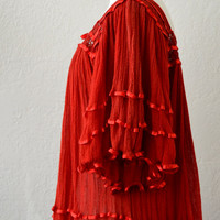 Vintage Red CROCHET gauze angel caftan tent Mini Dress boho festival Top 60s 70s