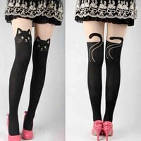 Cat tail splicing pantyhose JCID