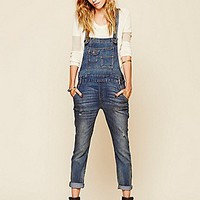 Free People  Washed Denim Overall at Free People Clothing Boutique
