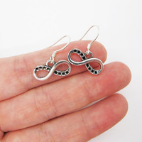 Antique Silver   Infinity Earrings & 925 Sterling Silver Ear hook