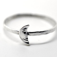 Silver Moon Ring Crescent Moon Ring Sterling Charm by fifthheaven