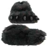 Fuzzy Black Bear Paw Slippers for Men and Women