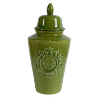 "One Kings Lane - Do Up Your Den - 21"" Lidded Wreath Jar, Green"