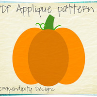 Pumpkin Applique Template - Fall Applique Pattern / Fall Quilt Pattern / Girls Pumpkin Dress / Halloween Wall Hanging / Kids Holiday AP308-D