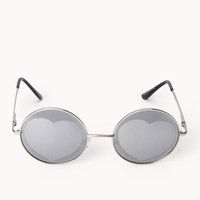 F6666 Mirrored Heart Round Sunglasses