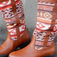Brown Aztec Embroidered Riding Boots