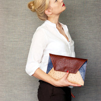 Oversize Envelope Clutch Bag in Leather Like A Ostrich Skin