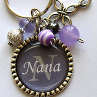 The Nana Personalized Pendant Keychain, soft purple and gray, childrens name, grandma, nana, mom, gift, present, sister, aunt, christmas