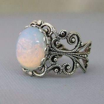 October Birthstone Opal Rings, White Glass Opal Ring, Silver Opal Jewelry, Antique Silver Opal Ring