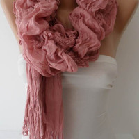 Christmas Gift - Pink Cotton Ruffle Shawl Scarf - Headband - Gift