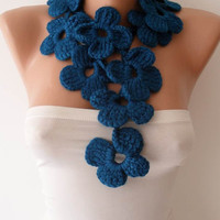 Winter Chic - Handknit flowered scarf -  Dark Blue Scarf