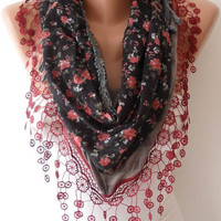Burgundy and Gray Shawl Scarf with Trim Lace Edge - Headband - Lace and Cotton Fabric  Scarf