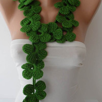 Winter Chic - Handknit flowered scarf -  Green Scarf