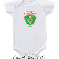 Daddy's Little Baseball Buddy Funny Baby Bodysuit  for the Baby or Toddler Tee