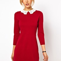 ASOS Knit Dress With Lace Collar at asos.com