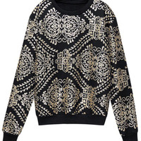 ROMWE | Sequined Flower Black Sweatshirt, The Latest Street Fashion