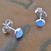 Tiny Opal Stud Post Sterling Silver 925 Stone Earrings 4mm
