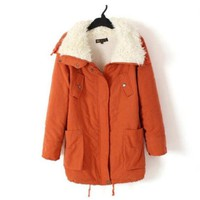 Promithi Womens Winter Parka Fur Collar Thick Padded Long Coat Outerwear Jacket