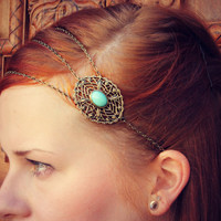 chain head piece, chain headband, turquoise headband, metal headband, unique headband