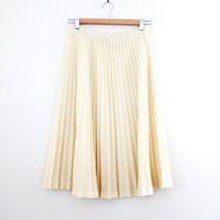 Vintage Cream Knit Accordion Pleat Skirt - Size Small