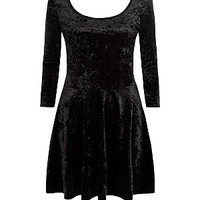 Black Velvet 3/4 Sleeve Skater Dress
