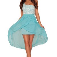 One Shoulder Greek Goddess Inspired Lace High Low Bridesmaid Party Formal Dress