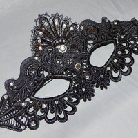 Lace Masquerade Mask with Clear Stones
