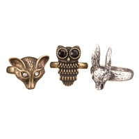 Mixed metal Animal Ring Set