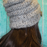 Slouchy Beanie Hat Winter Beehive Hand Knit Gray Oatmeal Tweed Oversized Woodsy With Wood Button