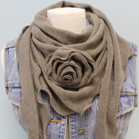 womens scarf self rose triangle knit scarf womens scarves fall scarf casual knit scarves ROMANCE ROSE  Taupe Catherine Cole Studio SC12