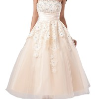 Crystal Dresses Women's A-line/princess Strapless Knee-length Lace Wedding Dress