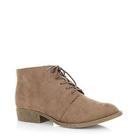Teens Light Brown Lace Up Suedette Ankle Boots
