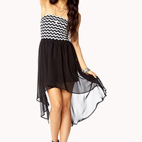 Chevron High-Low Combo Dress
