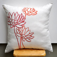 Orange Water Lily Throw Pillow Cover 18 x 18 by KainKain on Etsy
