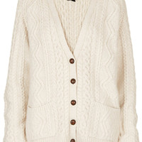 Knitted Angora Cable Cardi - Knitwear - Clothing - Topshop