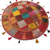 "32"" Red Indian Round Floor Patchwork Cushion Seating Tapestry Pillow Cover Ethnic India Decor Art"