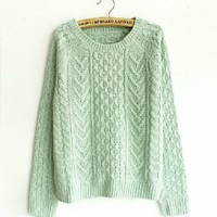 Green Little fresh Blouse Sweater