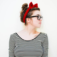 Crochet Bow Headband by agirlnamedleney on Etsy