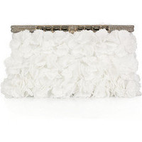 Valentino|Floral-appliqu? satin clutch|NET-A-PORTER.COM