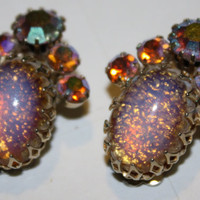 Vintage CORO Faux Opal Rhinestone Earrings 1950 by patwatty