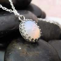 Opal Necklace, Opal Pendant Necklace, White Opal Pendant, Simple Opal Jewelry
