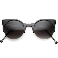 New Womens Designer Super Round Indie Half Frame Cat Eye Sunglasses 8920