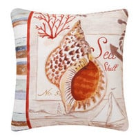 Shell & Anchor Canvas Throw Pillow | OceanStyles.com