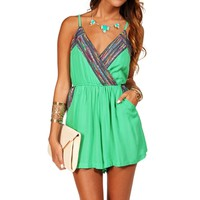 SALE-Green Ethnic Embroidered Romper