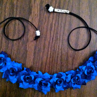 Blue Rose Flower Headband, Flower Crown, Flower Halo, Festival Wear, EDC, Coachella, Ezoo,Ultra Music Festival, Rave
