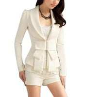 Allegra K Lady Shawl Collar Long Sleeve Hook Closure Jacket Coat White