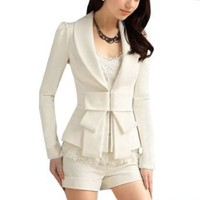 Amazon.com: Allegra K Lady Shawl Collar Long Sleeve Hook Closure Blazer Jacket White: Clothing