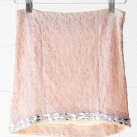 Rhinestone Lace Skirt-Blush