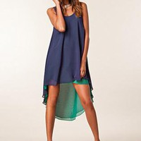 Blue Party Dress - Cascading Blue Dress with Contrasting | UsTrendy