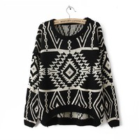 Pop geometric pattern retro sweater JCHBG